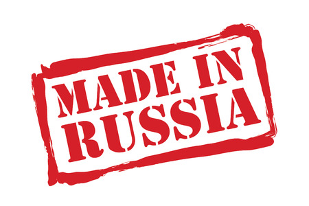 made in russia: MADE IN RUSSIA red rubber stamp over a white background. Illustration