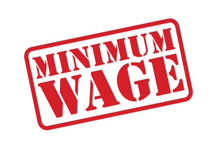 MINIMUM WAGE red Rubber Stamp over a white background. Imagens - 31460910