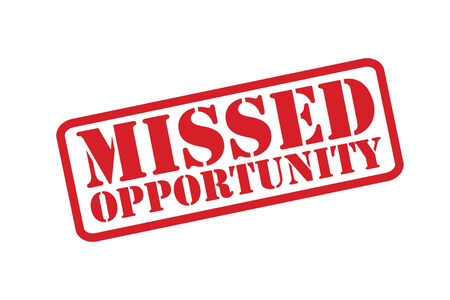 missed: MISSED OPPORTUNITY red Rubber Stamp over a white background. Illustration