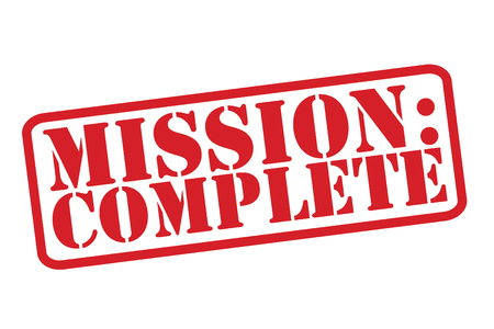 MISSIONE: COMPLETE gomma Timbro rosso su uno sfondo bianco. Archivio Fotografico - 31464394