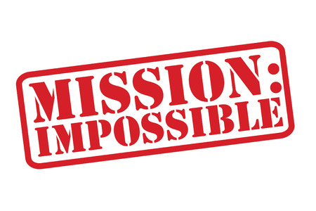 Mission: Impossible Rubber Stamp over een witte achtergrond.
