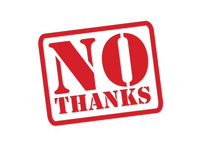 NO THANKS Red Rubber Stamp over a white background.