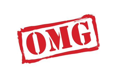 abbreviated: OMG red rubber stamp over a white background.
