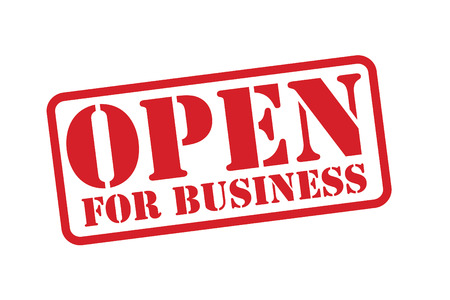 usual: OPEN FOR BUSINESS Red Rubber Stamp over a white background. Illustration