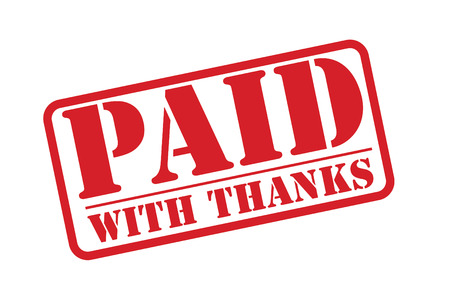 PAID WITH THANKS red rubber stamp over a white background. Vector