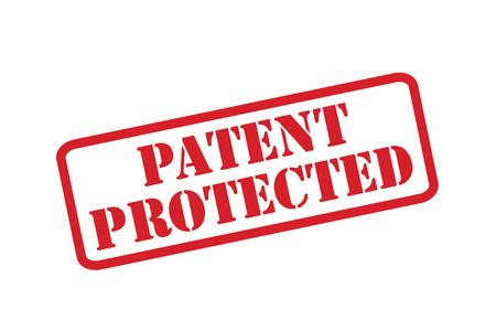 patente: Protegidos por patentes sello de goma roja sobre un fondo blanco. Vectores