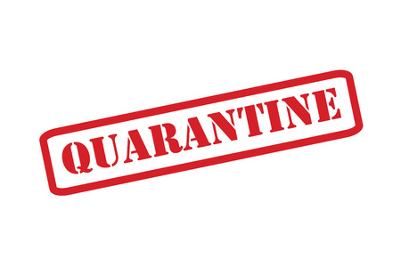 quarantine: QUARANTINE red rubber stamp over a white background.