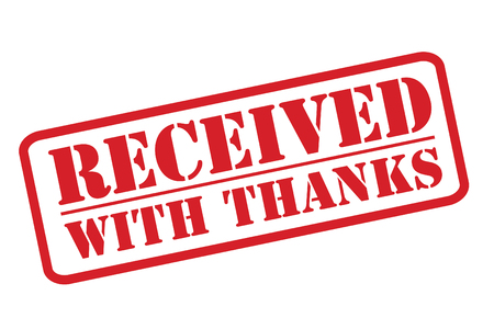 received: RECEIVED WITH THANKS red rubber stamp vector over a white background.