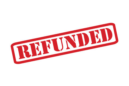 unsatisfied: REFUNDED Rubber Stamp vector over a white background.