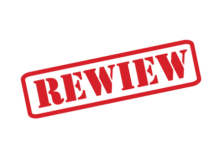 scrutinise: REVIEW red Rubber Stamp over a white background. Illustration