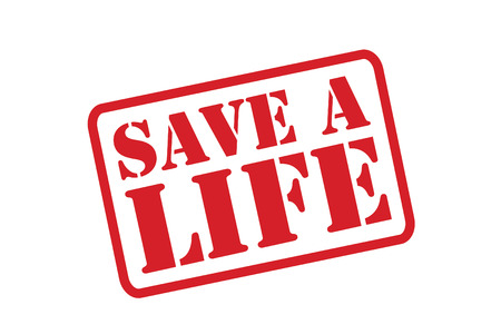 SAVE A LIFE red Rubber Stamp over a white background. Vector