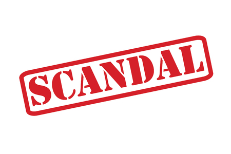 defamation: SCANDAL Rubber Stamp over a white background.