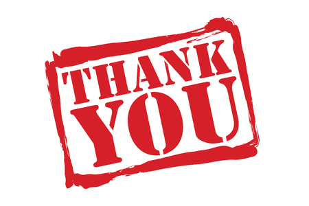 THANK YOU red rubber stamp over a white background. Vector