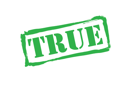 truthful: TRUE green rubber stamp over a white background.