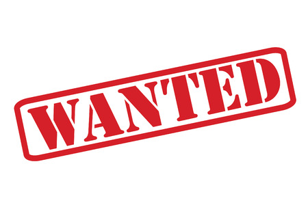 WANTED red rubber stamp over a white background. Illustration