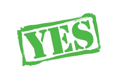 YES green rubber stamp over a white background.