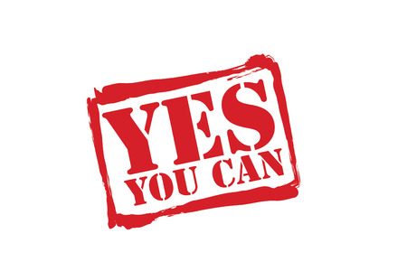 can yes you can: YES YOU CAN red rubber stamp over a white background.
