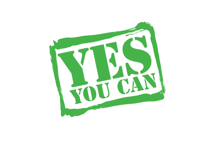 can yes you can: YES YOU CAN green rubber stamp over a white background.