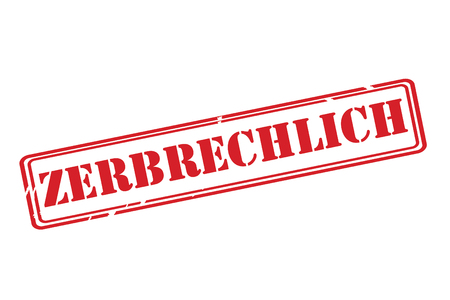 stempel: ZERBRECHLICH ( fragile ) red rubber stamp over a white background.