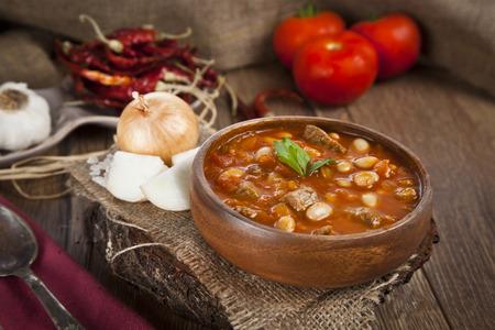 Hot turkish bean stew with a tasty tomato sauce. photo