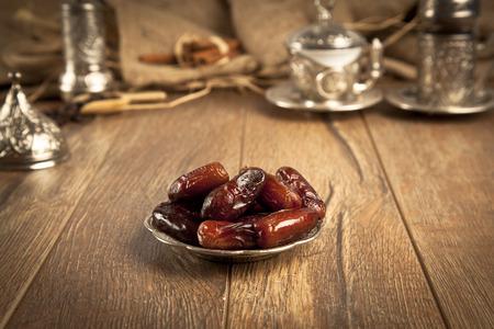 Dried date palm fruits or kurma, ramadan ( ramazan ) food Banco de Imagens