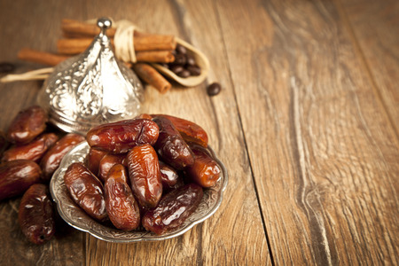 Dried date palm fruits or kurma, ramadan ( ramazan ) food Фото со стока