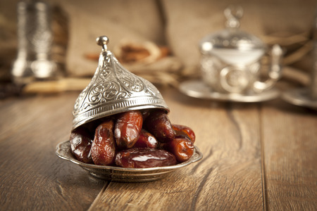 Dried date palm fruits or kurma, ramadan ( ramazan ) food Banco de Imagens