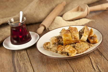 Turkish style meat stuffed filo dough borek served kol boregi Archivio Fotografico