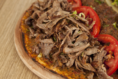 Doner Adana Kebab with Lahmacun - Turkish pizza pide photo