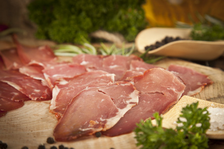 butcher's shop: Pastirma, turkish air dried meat Stock Photo