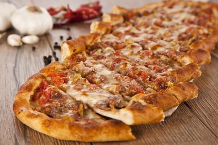 konya: Turkish pide beef and cheese pita Stock Photo