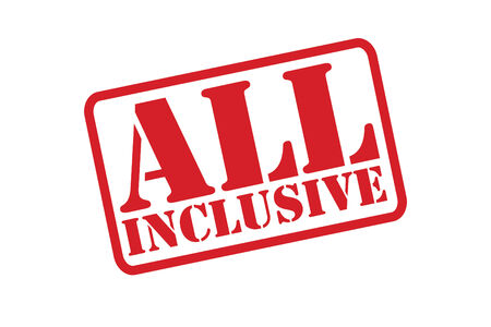 inclusive: ALL INCLUSIVE Rubber Stamp vector over a white background.