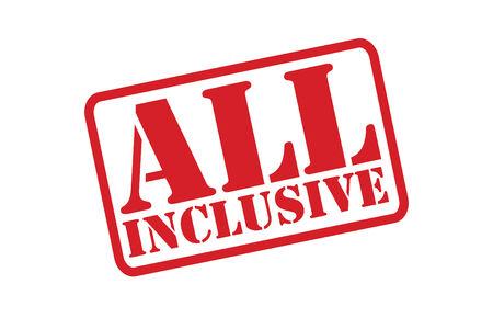 inclusive: ALL INCLUSIVE Rubber Stamp vector over a white background.