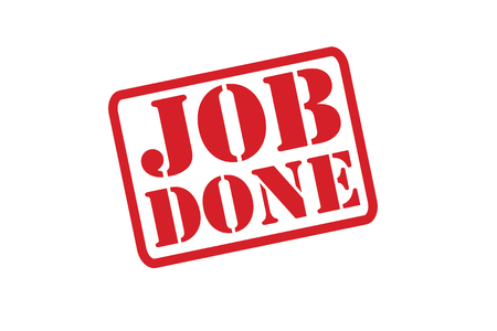 accomplish: JOB DONE Rubber Stamp over a white background.