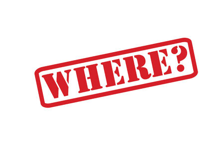 inquiring: WHERE? Rubber Stamp over a white background.