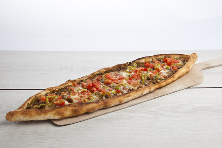 Turkish pide beef and cheese pita Imagens