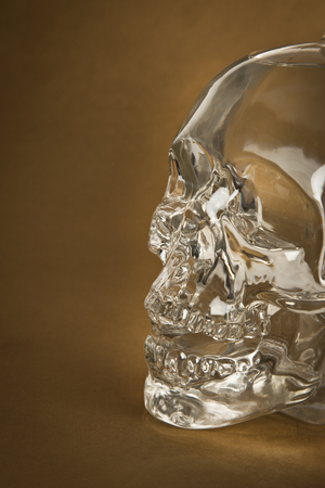 Crystal Skull - on a gold background photo