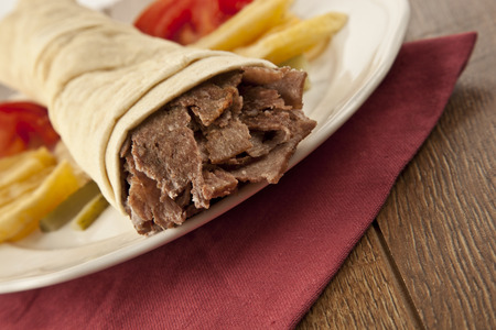 un healthy: Tortilla with a delicious turkish doner grilled meat