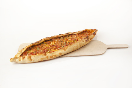 Turkish traditional beef Pide isolated Archivio Fotografico