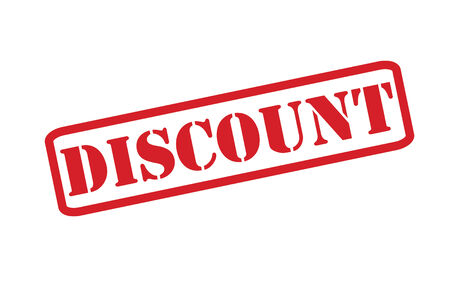 deduction: DISCOUNT red rubber stamp over a white background. Illustration