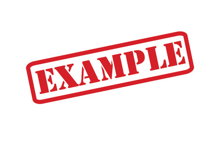 exemplar: EXAMPLE red rubber stamp over a white background.