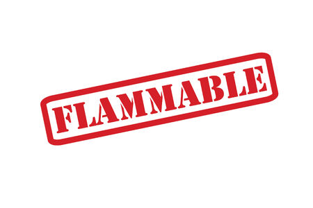 flammable materials: FLAMMABLE red rubber stamp over a white background.