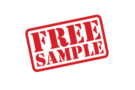 FREE SAMPLE rubber stamp over a white background.