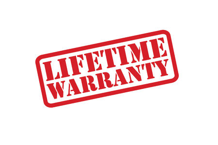duration: LIFETIME WARRANTY red rubber stamp over a white background.