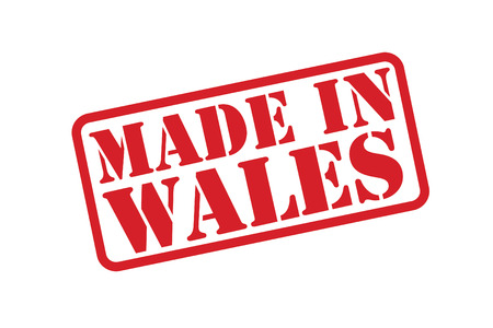 MADE IN WALES red rubber stamp over a white background. Vector