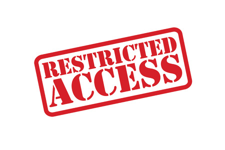 no trespassing: RESTRICTED ACCESS red rubber stamp over a white background. Illustration