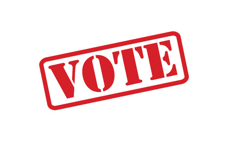 VOTE red rubber stamp over a white background. Vector