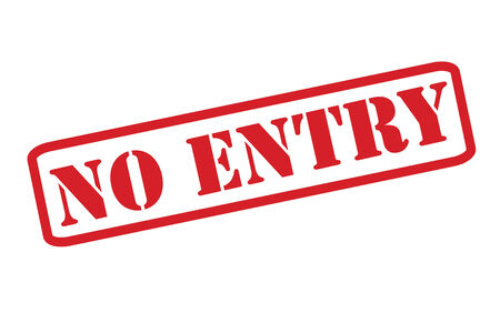 unreachable: NO ENTRY Rubber Stamp vector over a white background. Illustration