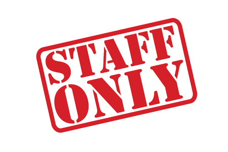 admittance: STAFF ONLY Rubber Stamp vector over a white background.