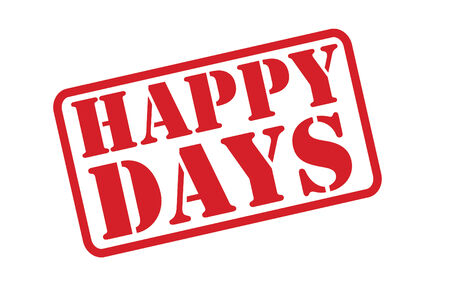 freetime: HAPPY DAYS red rubber stamp vector text over a white background. Illustration